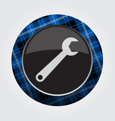 button with blue black tartan - spanner icon vector image
