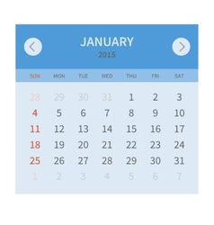 Calendar monthly january 2015 in flat design vector