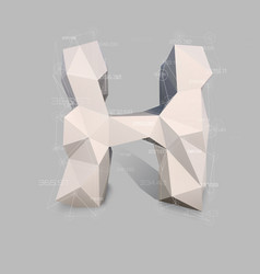 Capital latin letter h in low poly style vector