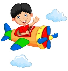 Cartoon boy riding airplane vector image
