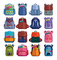 Cartoon kids school bags backpack back to school vector