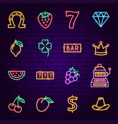 Casino neon icons vector