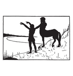 Centaur man standing on shore vintage vector