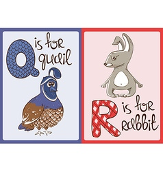 Children Alphabet with Funny Animals Quail and vector image
