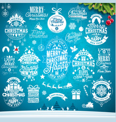 christmas decoration collection calligraphic vector image