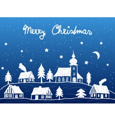 Christmas village with church at night vector image