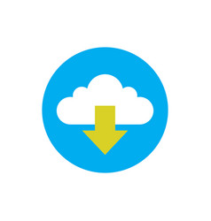 Cloud download - concept icon in flat graphic vector