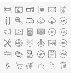coding line icons set vector image