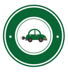 Color circular emblem with electric eco car vector