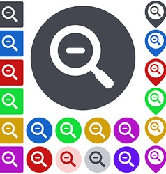 Color zoom out icon set vector