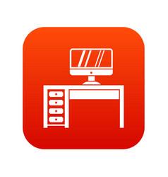 computer desk workplace icon digital red vector image