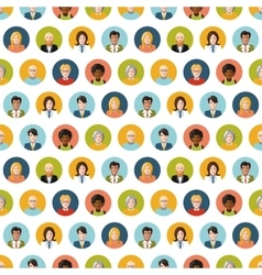 Crowd of round flat people avatars seamless vector