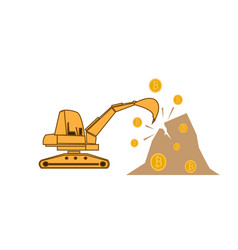 Cryptocurrency mining concept with backhoe vector
