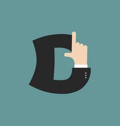 D letter businessman hand font it shows finger vector