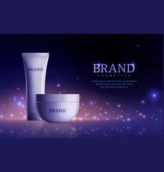 Dark cosmetic banner tube cream product for skin vector