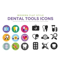 Dental icons set clinic logo vector