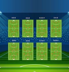 Different soccer team arrangement Football vector image