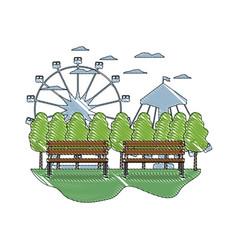 Doodle mechanical ride carnival games landscape vector