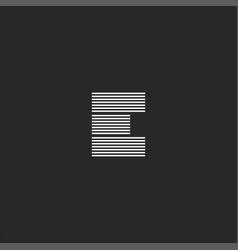 e letter logo monogram parallel black and white vector image