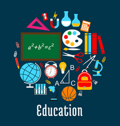 education round symbol made up of school supplies vector image