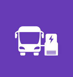 Electric bus charging at station icon vector