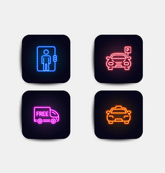 Elevator parking and free delivery icons taxi vector