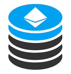 Ethereum coin stack flat icon vector