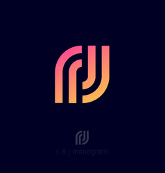 F and j monogram letters combined sport clothes vector