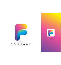 F logo letter with rainbow vibrant beautiful vector