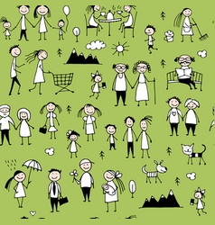 family set seamless pattern design vector image