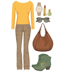 Fashion set with jeans and a sweater vector