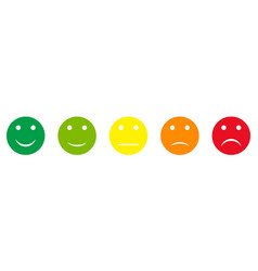 Five round feedback buttons different colors vector