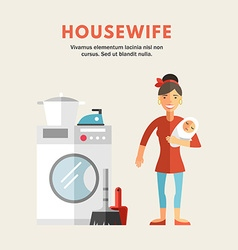 Flat Design of Housewife Infographic Design vector