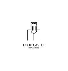 Food castle monoline logo template vector