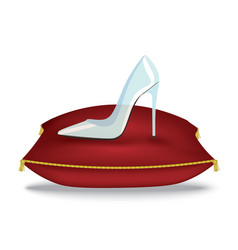glass shoe on pillow vector image