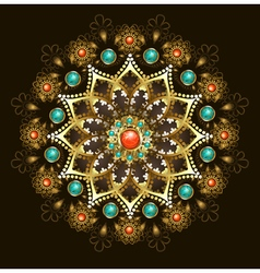 Golden Mandala with Turquoise vector