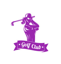 Golf logo with girl swinging club vector