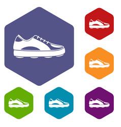 golf shoe icons set hexagon vector image