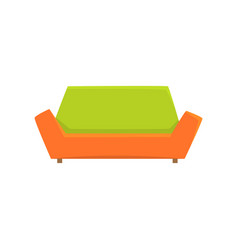 green and orange sofa or couch living room or vector image