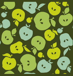 Green simple flat apple fruit seamless pattern for vector