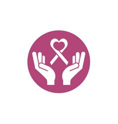 hands ribbon breast cancer awareness vector image