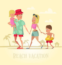 Happy family on beach vacation vector