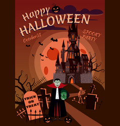 Happy halloween pumpkin in the cemetery abandoned vector