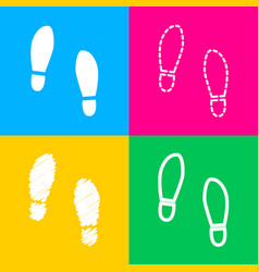 Imprint soles shoes sign four styles of icon on vector