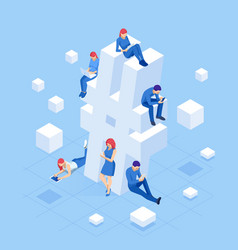 isometric social network hashtag or hashtag vector image