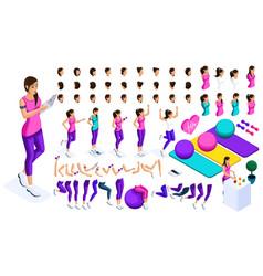 isometrics create your sports girl vector image