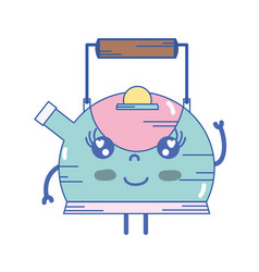 Kawaii cute happy teapot utensil vector