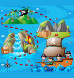 Kids on ship and adventure map vector