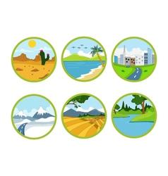 landscape cartoon set vector image