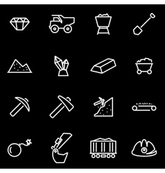 line mining icon set vector image